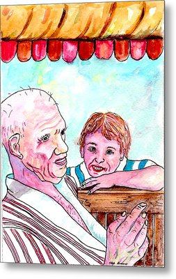 Listening To Grandpas Endless Funny Stories Metal Print