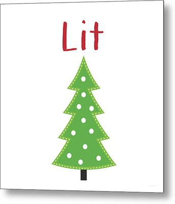 Lit Christmas Tree- Art By Linda Woods Metal Print