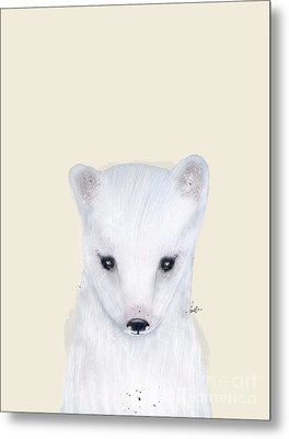 Metal Print featuring the painting Little Arctic Fox by Bri B