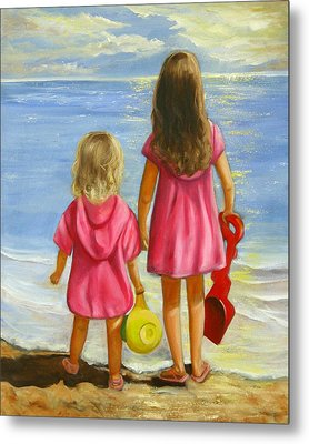 Metal Print featuring the painting Little Beachcombers by Joni McPherson