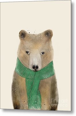 Metal Print featuring the painting Little Bear Brown by Bri B