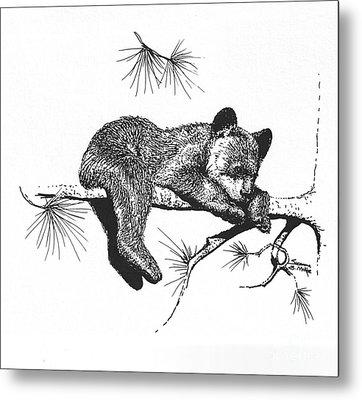 Little Black Bear Cub Metal Print by Suzanne McKee