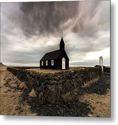Little Black Church Metal Print by Larry Marshall