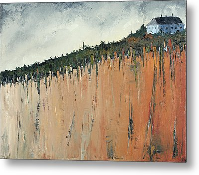 Little Blue House On The Cliff Metal Print by Carolyn Doe