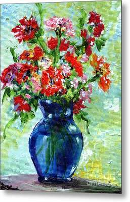 Little Blue Vase Metal Print by Ginette Callaway