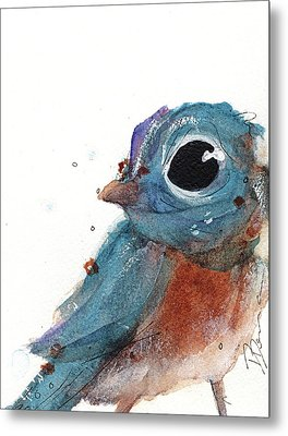 Metal Print featuring the painting Little Bluebird by Dawn Derman
