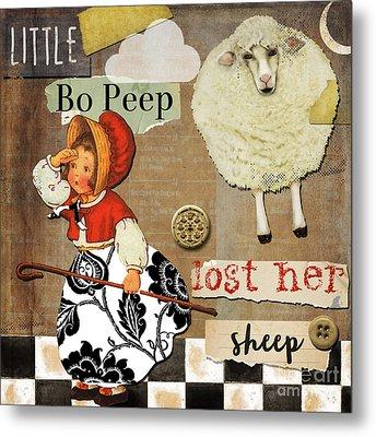 Little Bo Peep Nursery Rhyme Metal Print