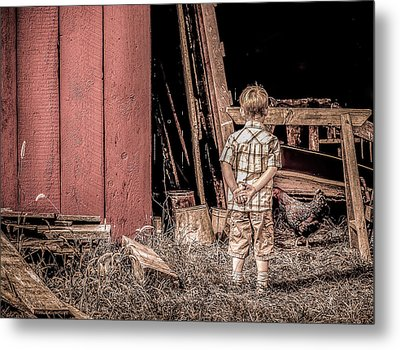 Little Boy And Rooster Metal Print