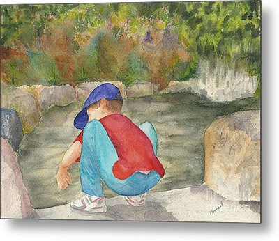 Little Boy At Japanese Garden Metal Print by Vicki  Housel