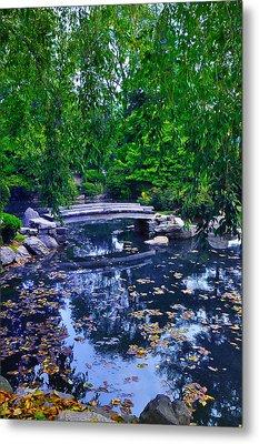 Little Bridge - Japanese Garden Metal Print by Bill Cannon