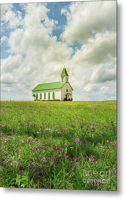 Metal Print featuring the photograph Little Church On Hill Of Wildflowers by Robert Frederick