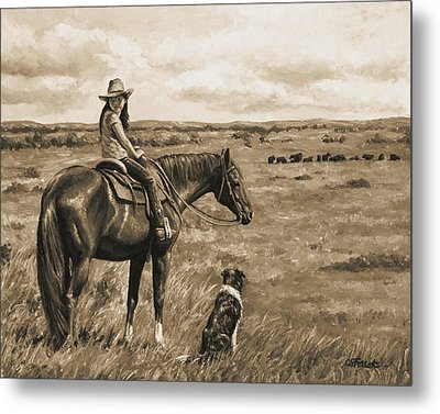 Little Cowgirl On Cattle Horse In Sepia Metal Print by Crista Forest