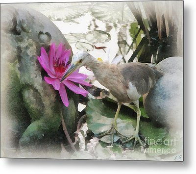 Metal Print featuring the painting Little Egret by Sergey Lukashin