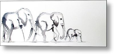 Little Elephant Family Metal Print