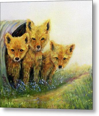 Little Foxes Metal Print by Loretta Luglio