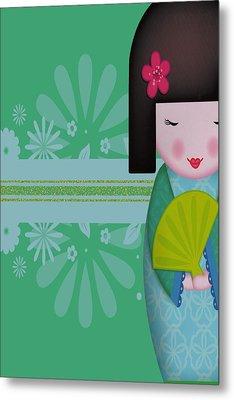 Little Geisha Blue Metal Print by Jannina Ortiz