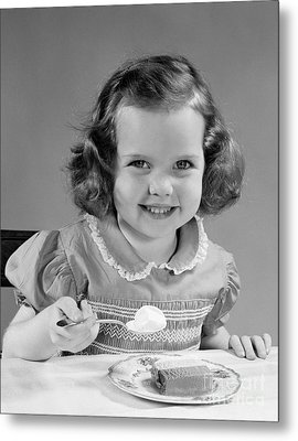Little Girl Eating Ice Cream, C.1950s Metal Print by H. Armstrong Roberts/ClassicStock
