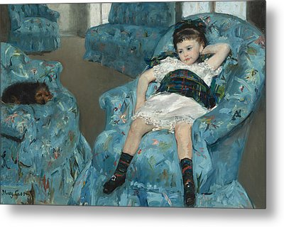 Little Girl In A Blue Armchair Metal Print