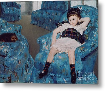 Little Girl In A Blue Armchair Metal Print by Mary Stevenson Cassatt