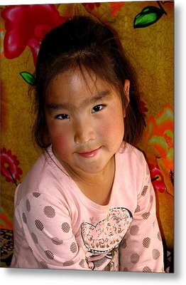 Little Girl Of The Gobi Metal Print by Diane Height
