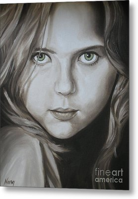 Little Girl With Green Eyes Metal Print by Jindra Noewi