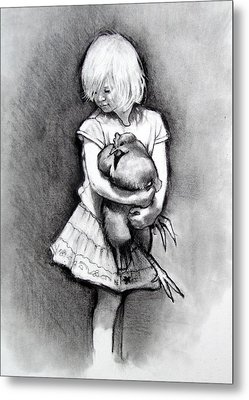 Little Girl With Pet Chicken Metal Print by Joyce Geleynse