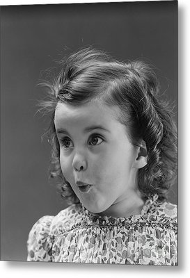 Little Girl With Surprised Expression Metal Print by H. Armstrong Roberts/ClassicStock