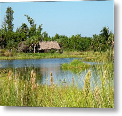 Metal Print featuring the digital art Little Grass Shack Painted by Rosalie Scanlon