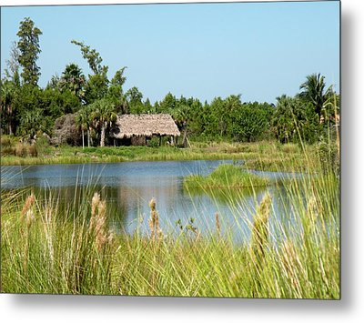 Metal Print featuring the photograph Little Grass Shack by Rosalie Scanlon