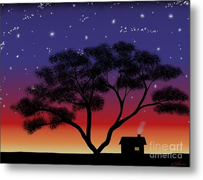Little House At Sunset Metal Print