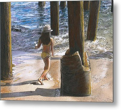 Little Jessica And Her Hat Malibu Pier  Metal Print by Randy Sprout