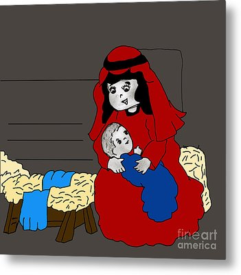 Little Mary And Baby Jesus In Red And Blue Metal Print by Sonya Chalmers