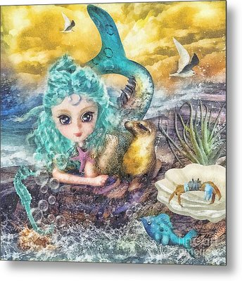 Little Mermaid Metal Print by Mo T