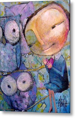 Metal Print featuring the painting Little Miss Wise Heart by Eleatta Diver