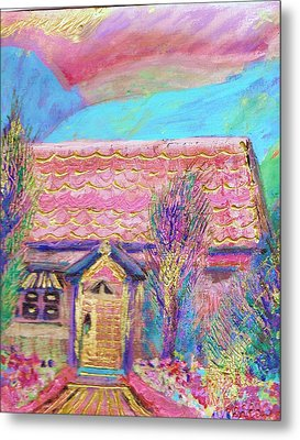 Little Pink House Metal Print by Anne-Elizabeth Whiteway
