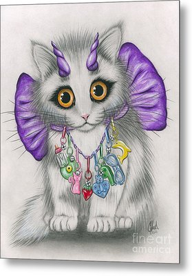 Metal Print featuring the mixed media Little Purple Horns - 1980s Cute Devil Kitten by Carrie Hawks
