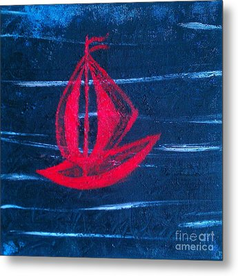 Metal Print featuring the painting Little Red Boat  by Jacqueline McReynolds