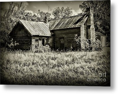 Metal Print featuring the photograph Little Red Farmhouse In Black And White by Paul Ward