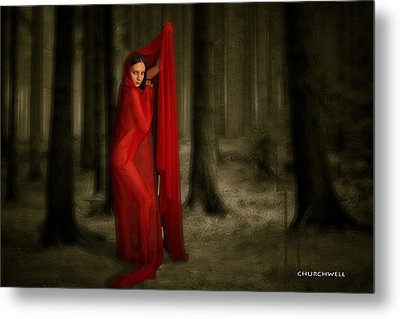 Little Red In Woods Metal Print by Thomas Churchwell