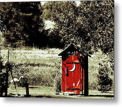 Little Red Outhouse Metal Print by Ms Judi