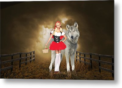 Metal Print featuring the mixed media Little Red Riding Hood And The Big Bad Wolf by Marvin Blaine