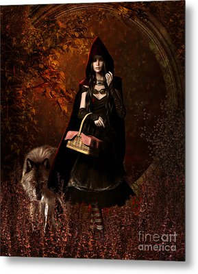 Little Red Riding Hood Gothic Metal Print by Shanina Conway