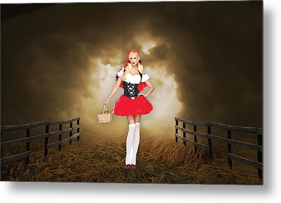Metal Print featuring the mixed media Little Red Riding Hood by Marvin Blaine