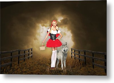 Metal Print featuring the mixed media Little Red Riging Hood And The Big Bad Wolf by Marvin Blaine