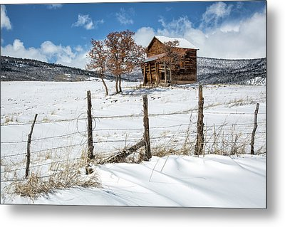 Little Shack In Winter Metal Print