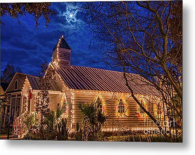 Metal Print featuring the photograph Little Village Church With Star From Heaven Above The Steeple by Bonnie Barry