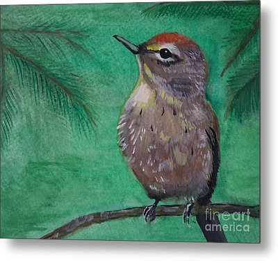 Metal Print featuring the painting Little Warbler by Leslie Allen