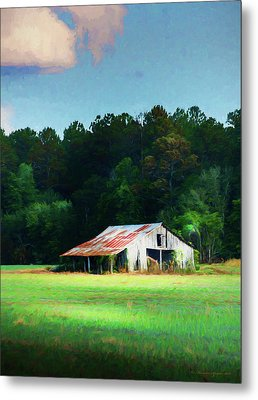 Little White Barn Metal Print by Marvin Spates