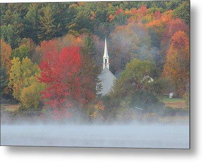 Little White Church Autumn Fog Metal Print by John Burk