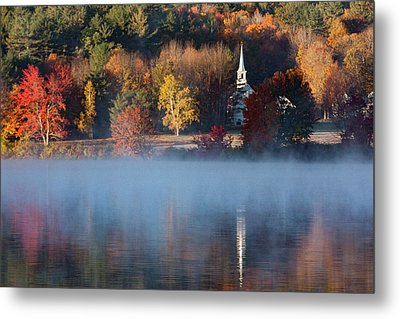 Metal Print featuring the photograph Little White Church On Crystal Lake by Jeff Folger